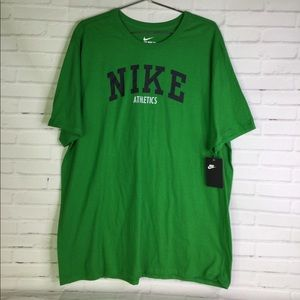 Nike Athletics 2XL Logo Green T-Shirt Spell Out